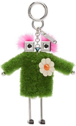 Fendi Green Shearling Teen Witch Charm Keychain