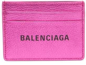 Balenciaga Everyday Logo Metallic Leather Cardholder - Womens - Pink