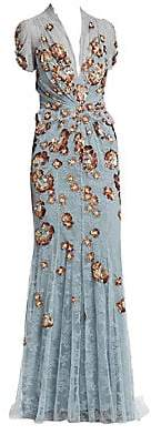 Jenny Packham Women's Lace& Sequin Embellished Gown