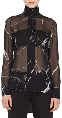 Akris Long-Sleeve Zip-Front Marble Tiles Print Silk Crepe Tunic Blouse