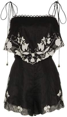 Zimmermann juniper applique linen playsuit