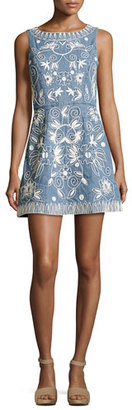 Alice + Olivia Lindsey Embroidered A-Line Denim Mini Dress, Indigo/White $485 thestylecure.com