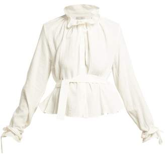 Palmer Harding Palmer//Harding Palmer//harding - Shadey Ruffled Neck Belted Cotton Muslin Blouse - Womens - Cream
