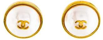 Chanel Faux Pearl & CC Logo Clip-On Earrings