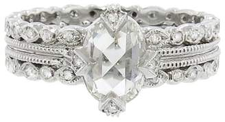 Cathy Waterman Oval Diamond Solitaire on Double Milgrain Seed Ring