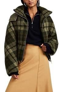 J.W.Anderson Women's Plaid Virgin Wool Tweed Crop Down Puffer Jacket - Green