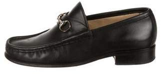 Gucci Leather Square-Toe Loafers