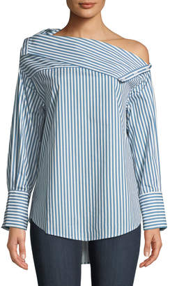 Few Moda Cold-Shoulder Striped Shirting Blouse