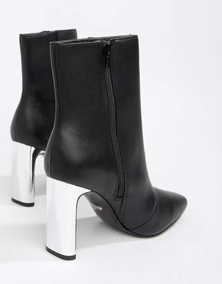 Faith Betty slim heel high rise ankle boots in black