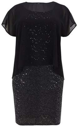 Evans Black and Silver Sequin Shift Dress