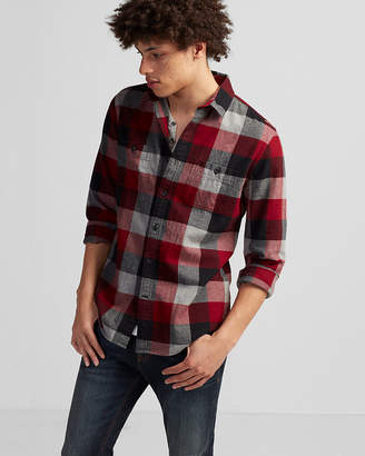 Express Slim Plaid Flannel Shirt