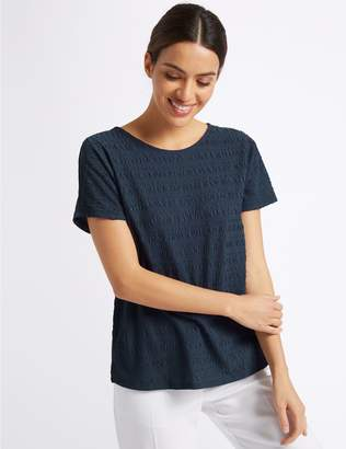 Marks and Spencer Textured Round Neck Short Sleeve T-Shirt
