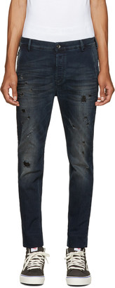 Diesel Blue Distressed Slim Chino Jeans $300 thestylecure.com