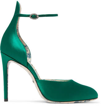 Gucci Daisy Satin Pumps - Emerald