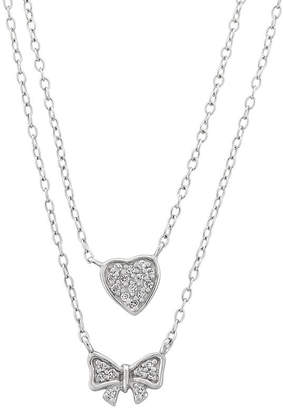 FINE JEWELRY Diamonart Womens 1/3 CT. T.W. White Cubic Zirconia Sterling Silver Bow Pendant Necklace