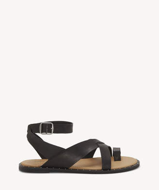 Lucky Brand Women's Farran Ankle Strap Flat Sandals Black Size 5 Leather From Sole Society