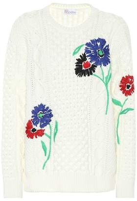 RED Valentino Embroidered cotton sweater