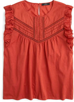 J.Crew Point Sur Collection Eyelet Flutter Sleeve Tee