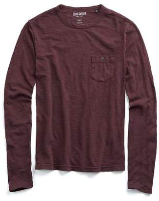 Todd Snyder Garment Dyed Long Sleeve Pocket Tee in Merlot