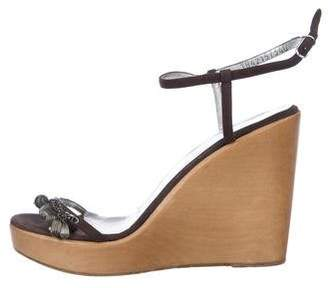 Dolce & Gabbana Suede Ankle Strap Wedges