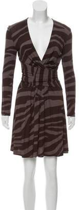 Michael Kors V-Neck Mini Dress Brown V-Neck Mini Dress