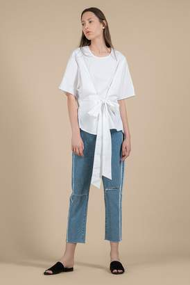 Genuine People White Bow Tie Blouse