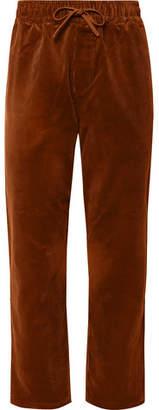 YMC Wide-Leg Cotton-Corduroy Drawstring Trousers - Men - Brown
