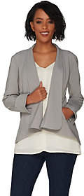 Halston H by Long Sleeve Open Front Jacket withSeam Detail