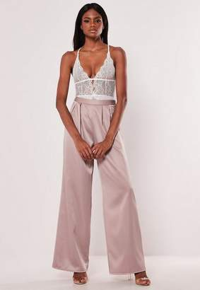 Missguided Pink Pleated Wide Leg Pants