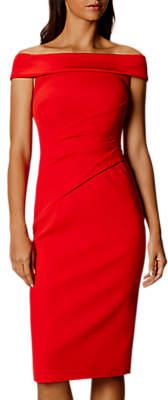 Karen Millen Bardot Shoulder Pencil Dress, Red