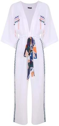 Lisa King Amelie Embroidered White Linen Jumpsuit