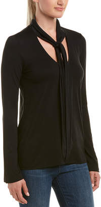 Three Dots Scarf Neck Silk-Trim Top