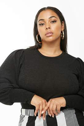 Forever 21 Plus Size Marled Balloon-Sleeve Top