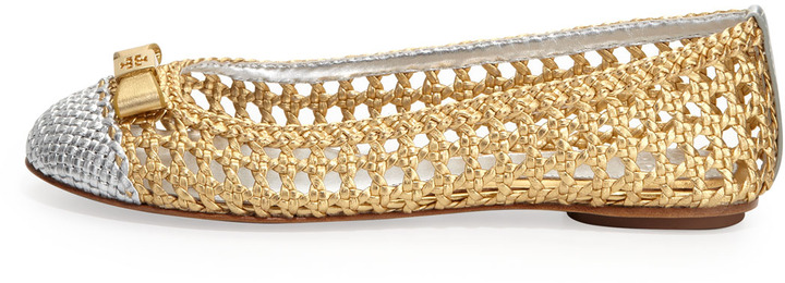 Tory Burch Carlyle Woven Ballerina Flat, Gold/Silver