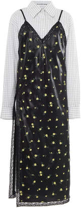 Alexander Wang Floral-Print Lace-Trimmed Satin And Cotton-Poplin Midi