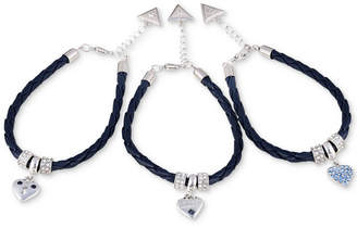 GUESS Silver-Tone 3-Pc. Set Crystal Bead & Heart Charm Braided Faux Leather Bracelets
