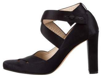 Gucci Satin Ankle Strap Pumps Black Satin Ankle Strap Pumps