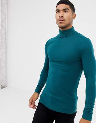 d525f9c0 Asos Design DESIGN muscle fit long sleeve roll neck t-shirt with stretch in  green