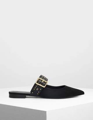 Charles & Keith Studded Buckle Mules