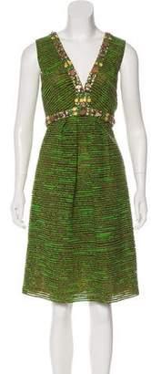 Oscar de la Renta Silk Embellished Dress