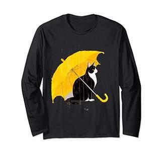 Cat Under A Yellow Umbrella Unisex Long Sleeve T-Shirt