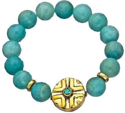 Devoted Jewelry Amazonite Round Tibetan Bead Bracelet