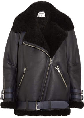 Acne Studios - Velocite Leather-trimmed Shearling Jacket - Midnight blue
