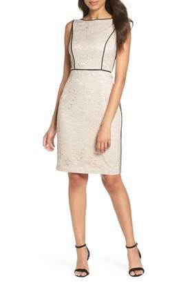 Vince Camuto Piped Lace Sheath Dress (Regular & Petite)