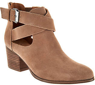 Nobrand NO BRAND Sole Society Suede Cross-Strap Ankle Boots -Azure
