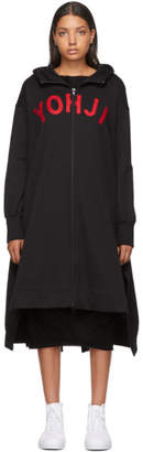 Y-3 Y 3 Black Yohji Letters Full-Zip Dress