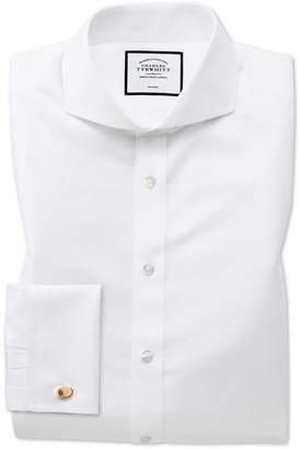 Charles Tyrwhitt Extra Slim Fit White Non-Iron Twill Extreme Spread Collar Cotton Dress Shirt Single Cuff Size 14.5/33