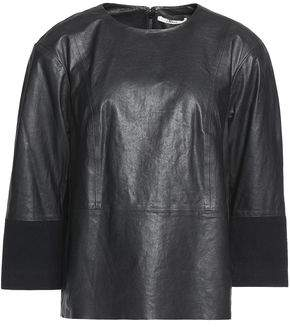 J Brand Suede-Paneled Leather Top