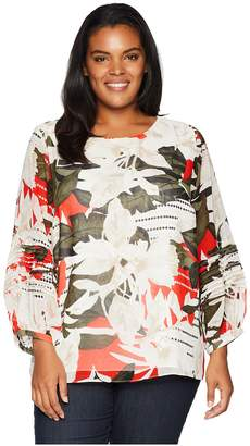 Calvin Klein Plus Plus Size Long Sleeve Bubble Sleeve Blouse w/ Pleated Women's Blouse