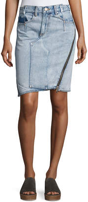 3.1 Phillip Lim Asymmetrical Denim Pencil Skirt W/ Zipper, Indigo